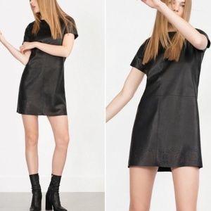 Zara Faux Leather Laser Cut Black Mini Shift Dress
